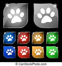 paw icon sign. Set of ten colorful buttons with glare....