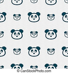 Teddy Bear icon sign. Seamless pattern with geometric texture. Vector