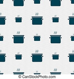 pan cooking icon sign. Seamless pattern with geometric...