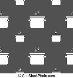 pan cooking icon sign. Seamless pattern on a gray...