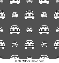 Car Icon sign. Seamless pattern on a gray background. Vector