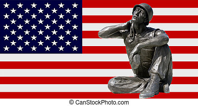 army soldier over flag - army soldier scupture over american...