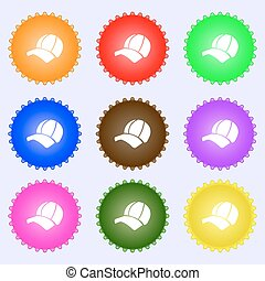 Ball cap icon sign. Big set of colorful, diverse,...