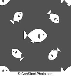 fish icon sign. Seamless pattern on a gray background. Vector