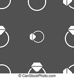 Diamond engagement ring icon sign. Seamless pattern on a...