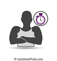 silhouette amrs crossed and chronometer vector illustration...