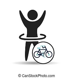 man hand up silhouette with bycicle icon design vector...