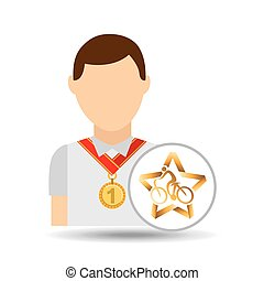 athlete medal cyclist icon graphic