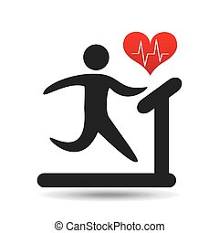 athlete silhouette heart beat walking machine vector...