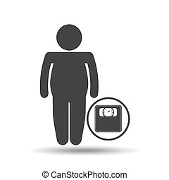 man silhouette fat weight scale icon