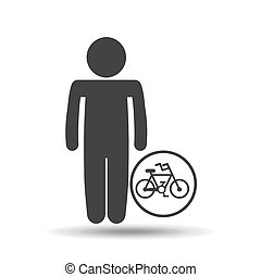 silhouette man icon bycicle sport design vector illustration...