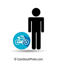 man silhouette bycicle icon design vector illustration eps...