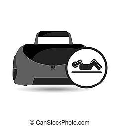 fitness sport bag icon silhouette abs workout vector...