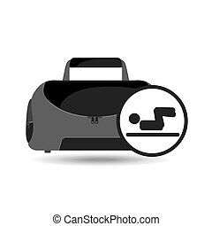 fitness sport bag icon man abs design vector illustration