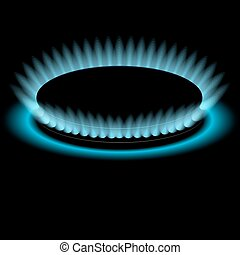 Gas burners, blue flame, vector background - Gas burners,...