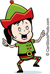 Elf Dancing - A happy cartoon Christmas elf dancing and...