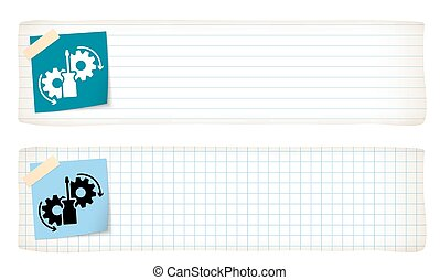 Two banners with lined paper, graph paper and tools icon