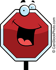 Stop Sign Smiling - A cartoon stop sign smiling and happy.