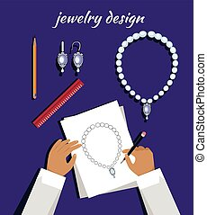 Jewerly Sketch Banner. Necklace and Earrings. - Jewerly...
