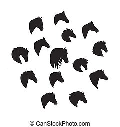 Set of Vector Silhouettes of Horse Heads