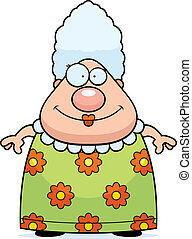 Grandma Smiling - A happy cartoon grandma standing and...