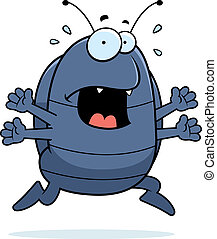 Pill Bug Panic - A cartoon pill bug running in a panic.
