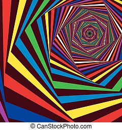 Digital whirling multicolor hexagonal forms - Concentric...