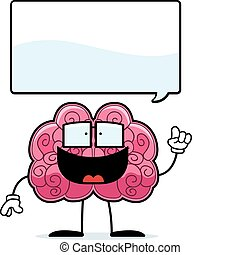 Brain Idea - A happy cartoon brain with an idea