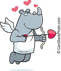Rhino Cupid - A happy cartoon rhino cupid with a bow and...