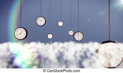 Clocks over clouds in the sky. - 3d animation of clocks over...