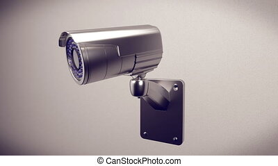 """ Security cameras frontal view on white wall"" - ""3d..."