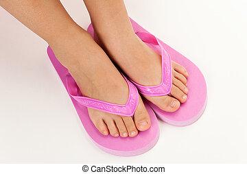 flip flop sandal - Pink flip flop sandal with white...