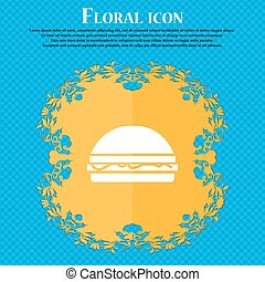 Hamburger icon sign. Floral flat design on a blue abstract background with place for your text. Vector
