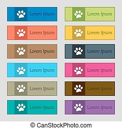paw icon sign. Set of twelve rectangular, colorful, beautiful, high-quality buttons for the site. Vector