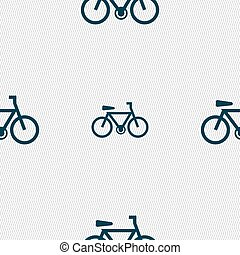 bicycle icon sign. Seamless pattern with geometric texture. Vector