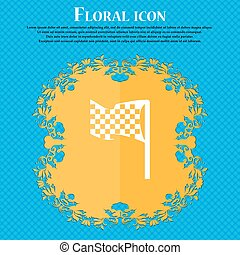 racing flag icon sign. Floral flat design on a blue abstract background with place for your text. Vector