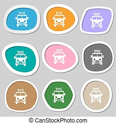 Fire engine icon symbols. Multicolored paper stickers....