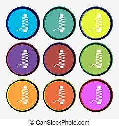 Thread Icon sign. Nine multi colored round buttons. Vector