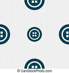 Sewing button sign. Seamless pattern with geometric texture....