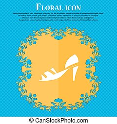 Shoe icon sign. Floral flat design on a blue abstract background with place for your text. Vector