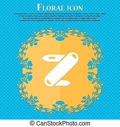 Pocket knife icon sign. Floral flat design on a blue...