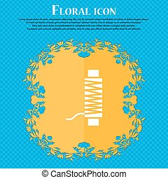 Thread Icon sign. Floral flat design on a blue abstract...