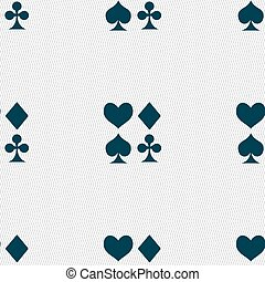 card suit Icon sign. Seamless pattern with geometric...