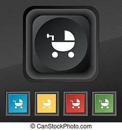 Baby Stroller icon symbol. Set of five colorful, stylish buttons on black texture for your design. Vector