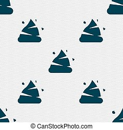 Poo icon sign. Seamless pattern with geometric texture....