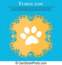 paw icon sign. Floral flat design on a blue abstract background with place for your text. Vector