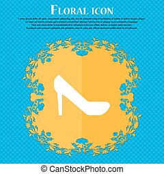 woman shoes icon sign. Floral flat design on a blue abstract background with place for your text. Vector