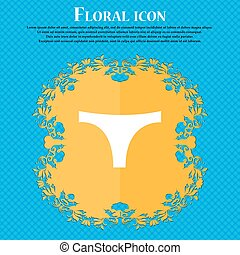 Underwear icon sign. Floral flat design on a blue abstract...