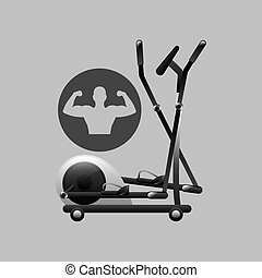 fitness silhouette elliptical machine gym graphic vector...