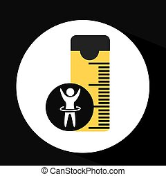 man hand up silhouette measure tape icon design vector...